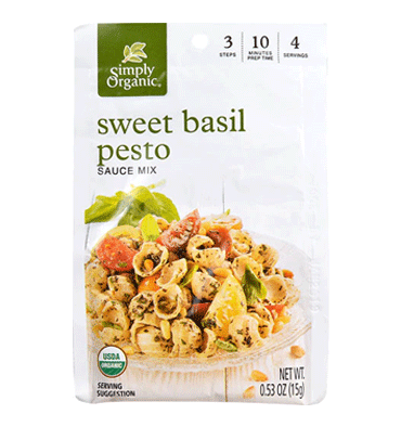 SIMPLY ORGANIC, Seasoning Mix Sweet Basil Pesto, 16 gr.