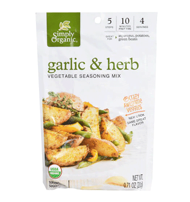 SIMPLY ORGANIC, Vegetable Seasoning Mix Garlic and Herb, 21 mg.