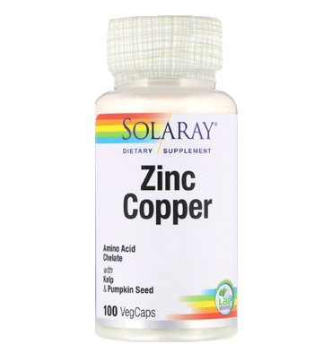 SOLARAY, Zinc Copper, 100 Vcaps
