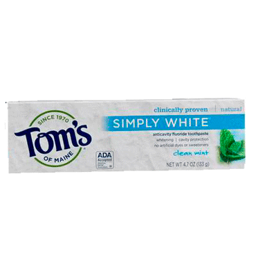 TOM'S OF MAINE, Pasta Dental Simply White, con Fluoruro, sabor Clean Mint, 133 gr.