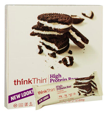 THINK THIN, Barra de Proteína sabor Cookies and Cream, 10 barras