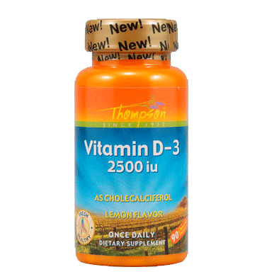 THOMPSON, Vitamina D3 sabor Limón 2500 IU, 90 Chewables