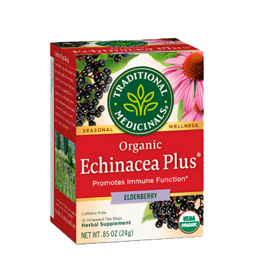 TRADITIONAL MEDICINALS, Organic Echinacea Plus Elderberry Herbal Tea 16 Bags