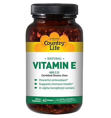COUNTRY LIFE, Vitamina E, 400 IU, 60 Softgels
