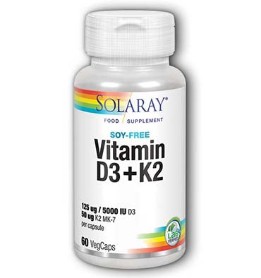 SOLARAY, Vitamina D3 plus K2, 60 vcaps.