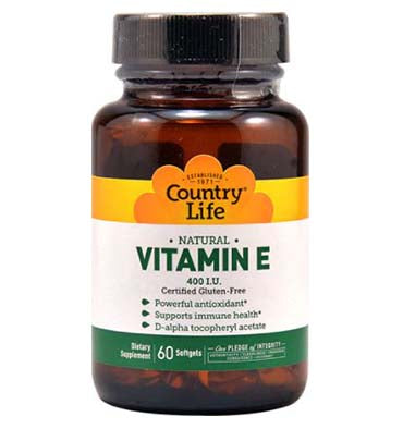 COUNTRY LIFE, Vitamina E natural 400 IU , 60 Softgels