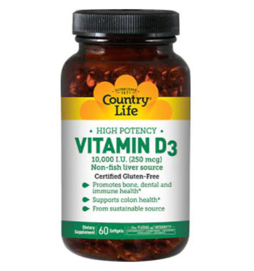 COUNTRY LIFE, Vitamina D3 10,000 IU,  60 Softgels