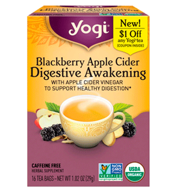 YOGI,  Blackberry Apple Cider Digestive Awakening Caffeine Free, 16 Tea Bags