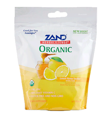 ZAND HERBALOZENGE, Organi Lemon Honey Soother, 80 Lozenges