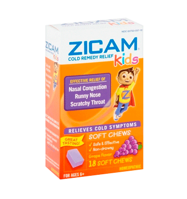 ZICAM, Cold Remedy Kids sabor Uva, 18 tab masticables.
