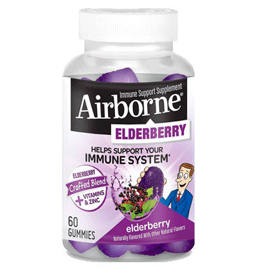 AIRBORNE, Elderberry + Vitaminas + Zinc, 60 Gummies