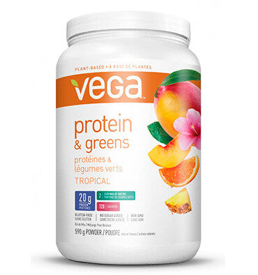 VEGA PROTEIN AND GREENS, Sabor Tropical, 590 gr.