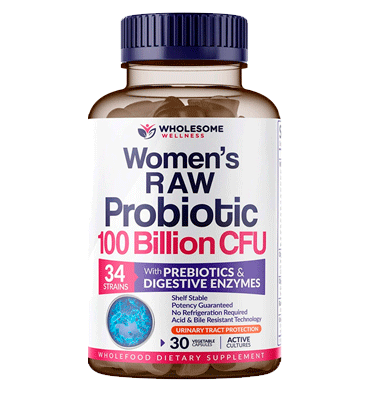 WHOLESOME, Probióticos RAW Orgánicos para Mujer 100 billion, 30 caps