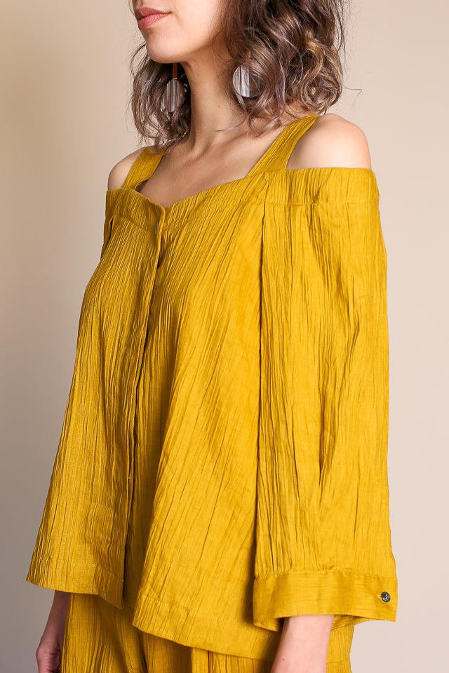 Cropped Shoulder Shirt in Yellow Green