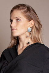 Modern Weaving Arch earrings in Wood/Opalite - Vert & Vogue