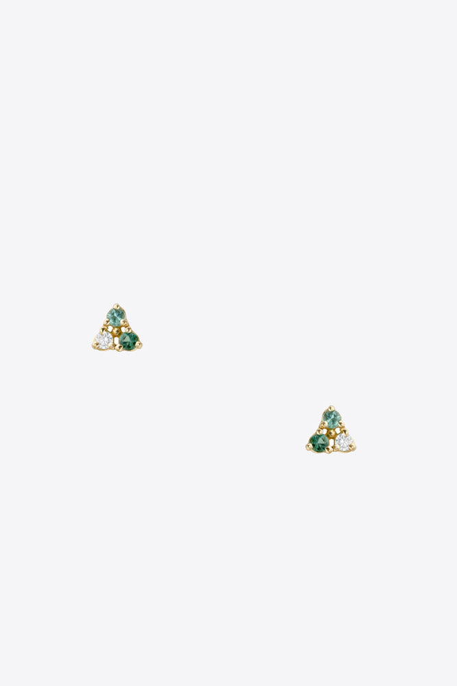 Wwake Tri Stone Tourmaline Earrings - Vert & Vogue
