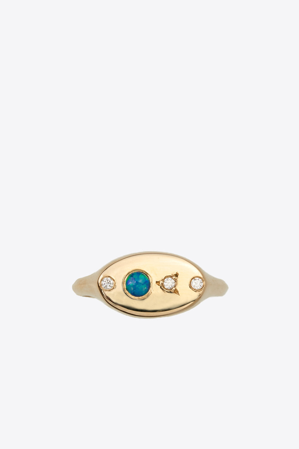 Signet Ring With Opal and Diamonds