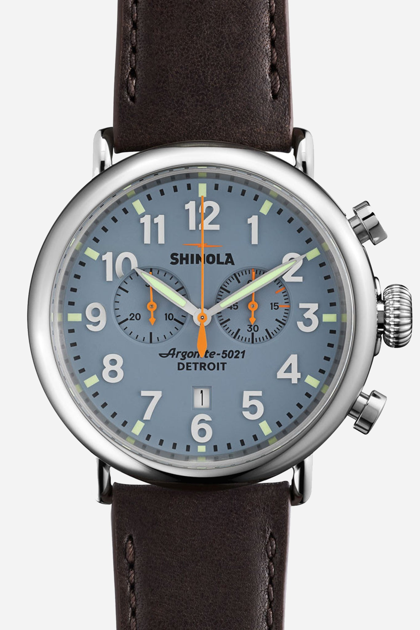 Runwell 47mm Watch in Slate Blue/Brown