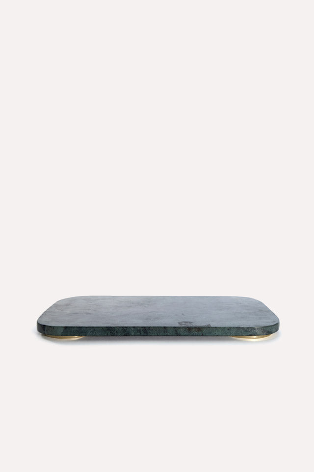 Mara Marble/Brass Serving Board Small in Green