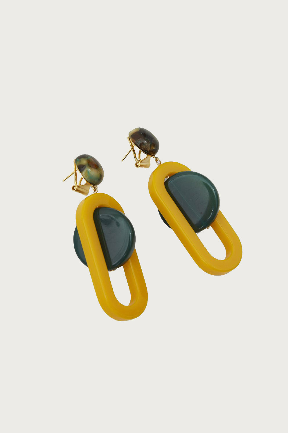 Lohr Earring in Army Green-Mustard