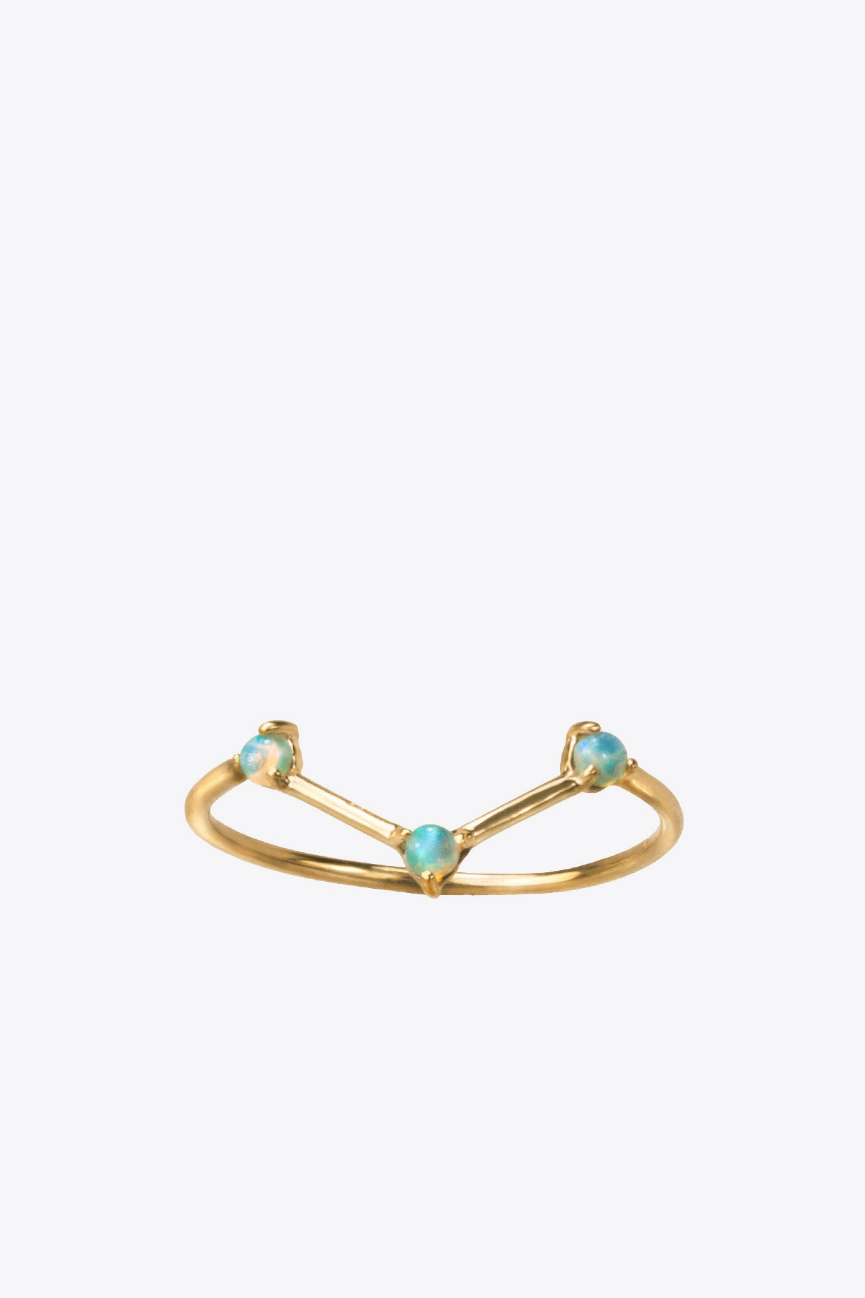 Three step opal and 14k gold ring