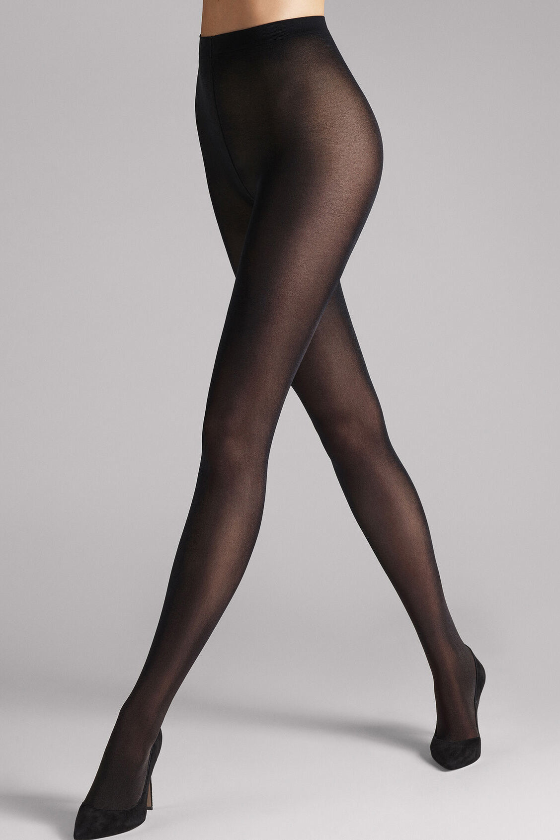 Wolford Satin Opaque 50 Tights in Black - Vert & Vogue