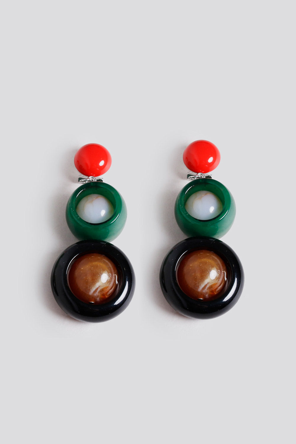 Ladybird Earrings in Red Green
