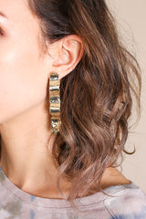 Plinth Earrings in Brass