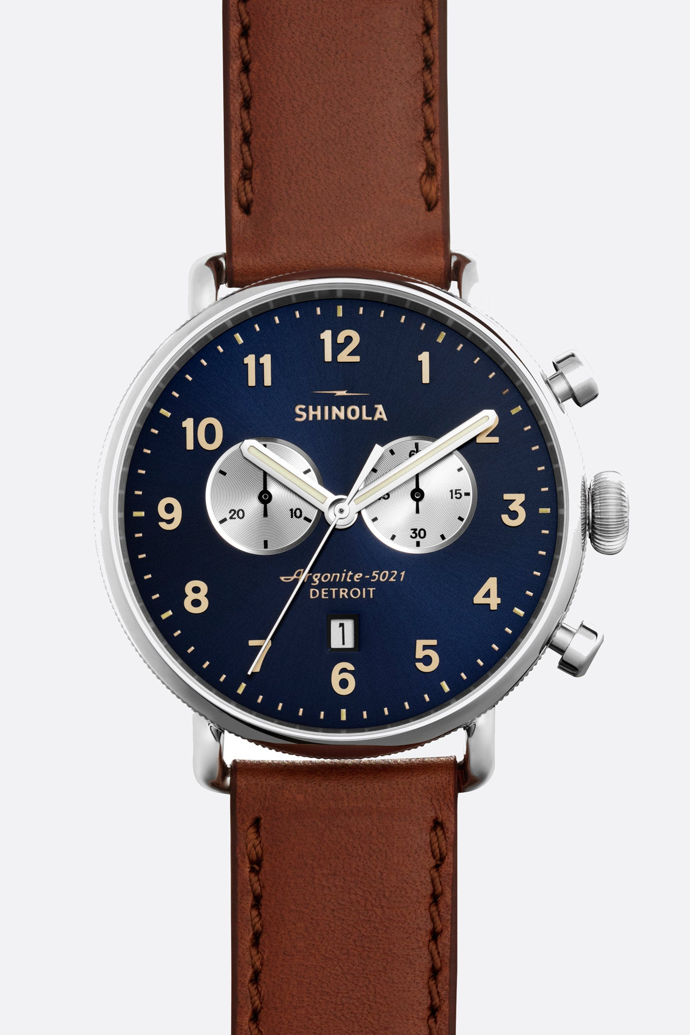 The Canfield Chrono 43mm Watch in Midnight Blue/Dark Cognac