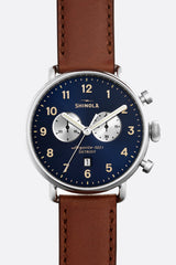Shinola Canfield 43mm Watch in Midnight Blue/Cognac - Vert & Vogue