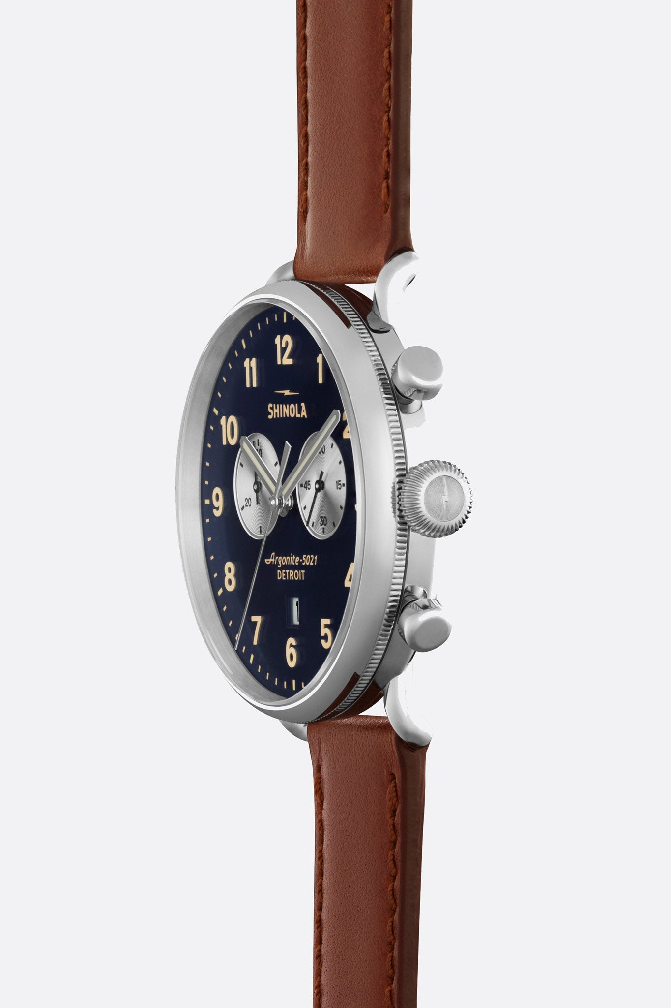 Canfield 43mm Watch in Midnight Blue/Cognac