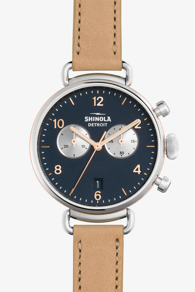 Canfield 38mm Chrono Watch in Midnight Blue/Natural