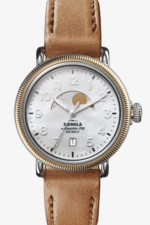 Runwell 38mm Watch in Mother of Pearl/Burbon
