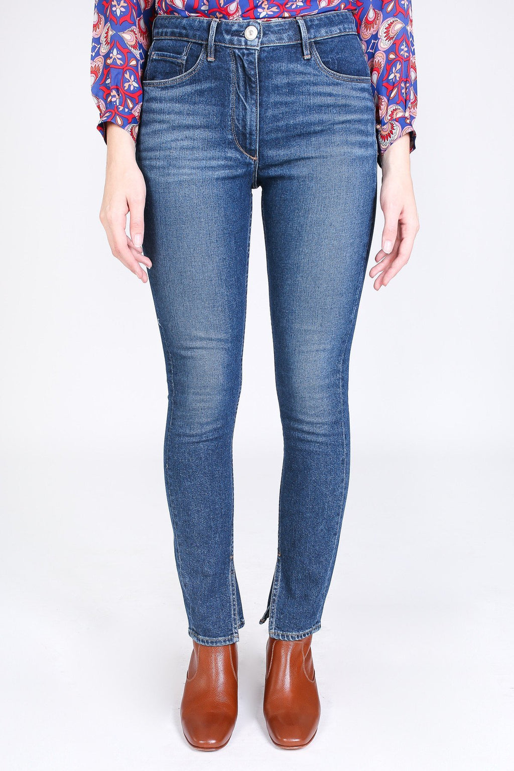 Split Seam Skinny Jean in Dark Sterling