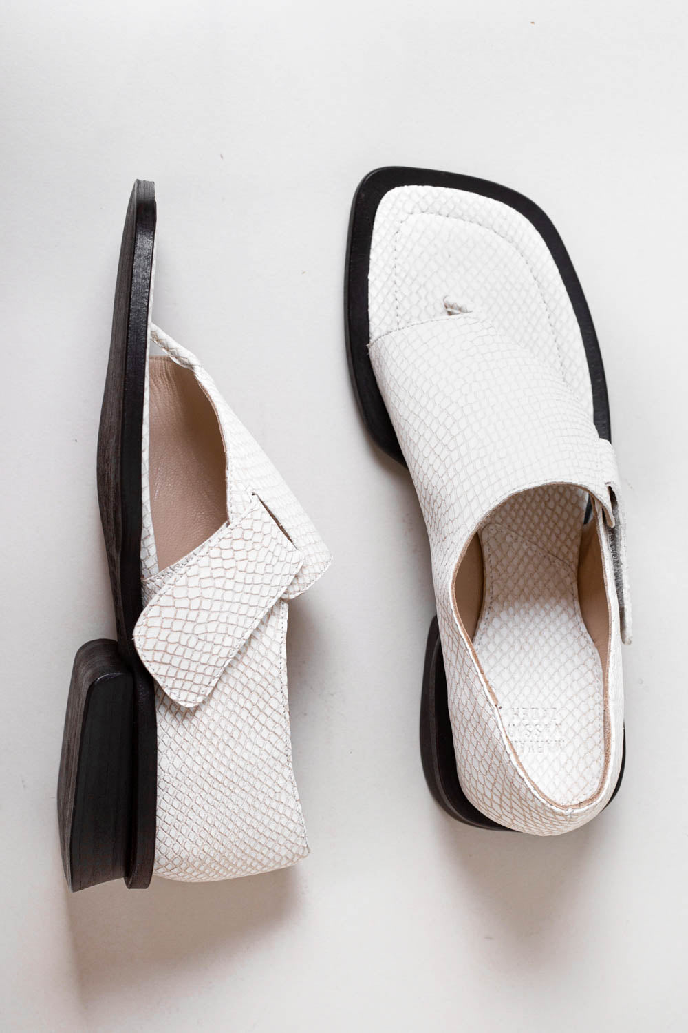 Thompson Sandal in Creme Mini Croc