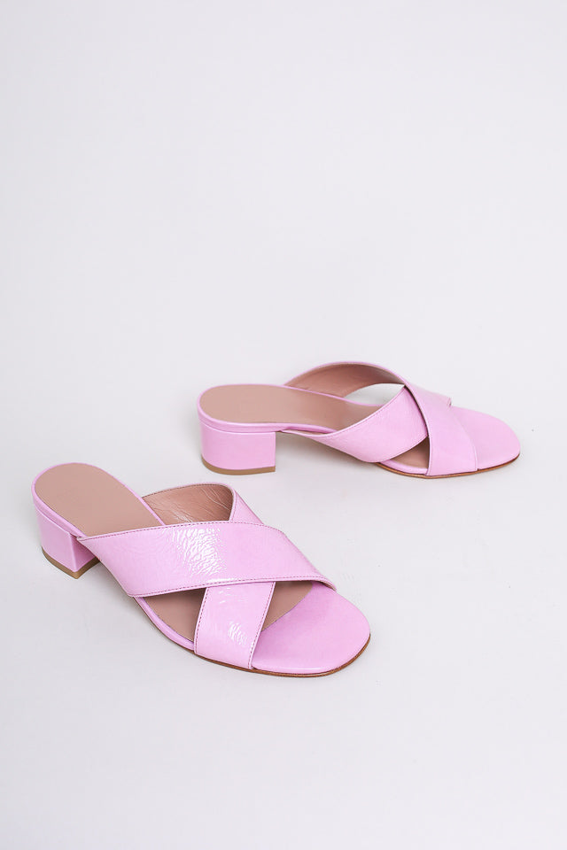 Lauren Patent Slide in Pink Crinkle