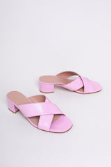 Lauren Slide in Pink Crinkle Patent