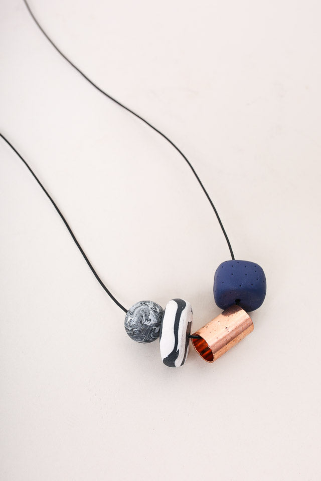 Peppertrain Andy Square Necklace in Cobalt - Vert & Vogue