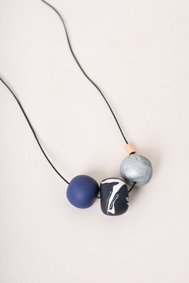 Peppertrain Everyday Necklace in Navy Sparkle - Vert & Vogue