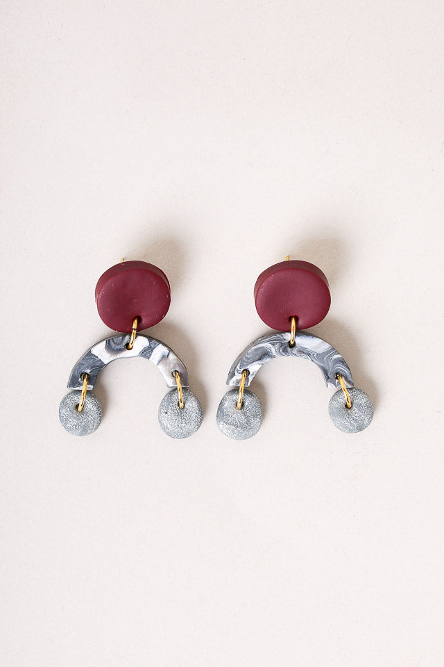 Ella Earrings in Bordeux