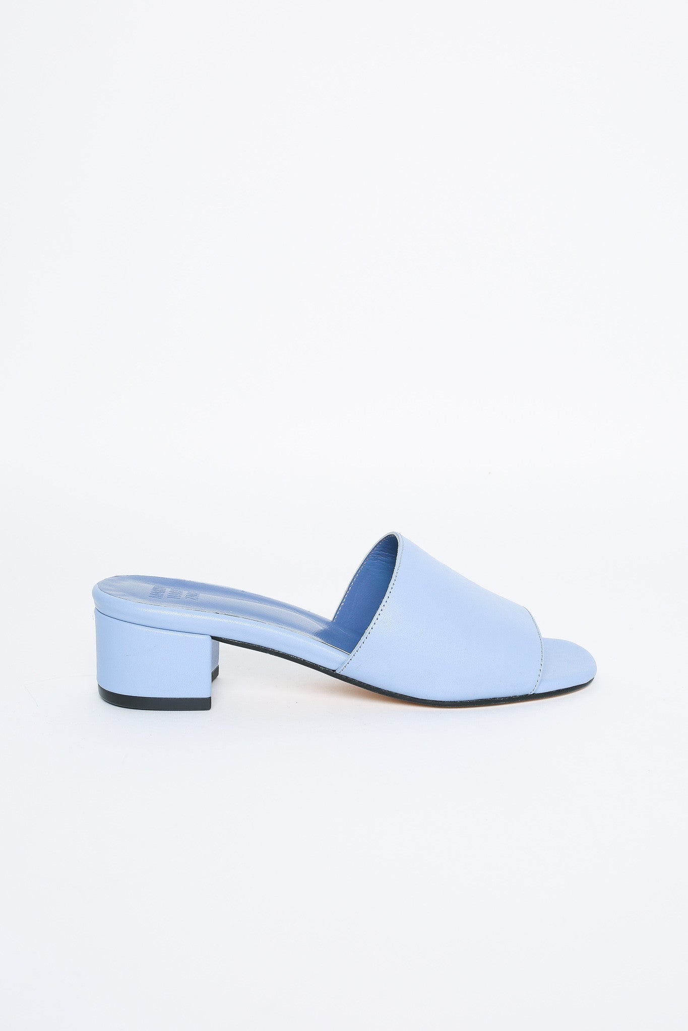 Sophie open toe mule in slate blue