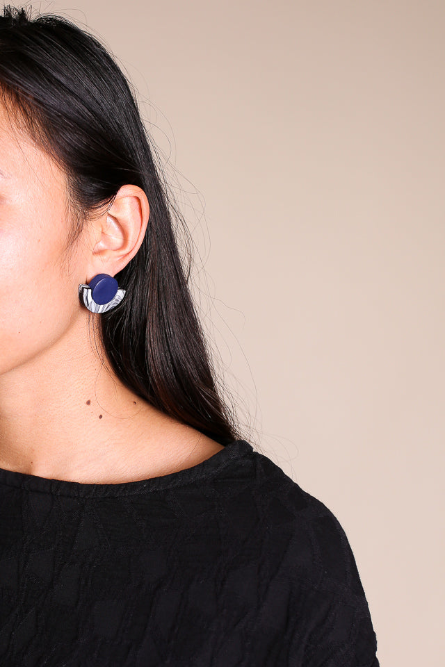 Kat Earrings in Navy Black White