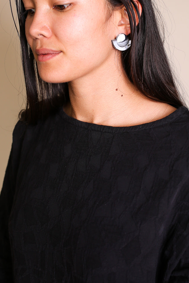 Kat Earrings in Black White