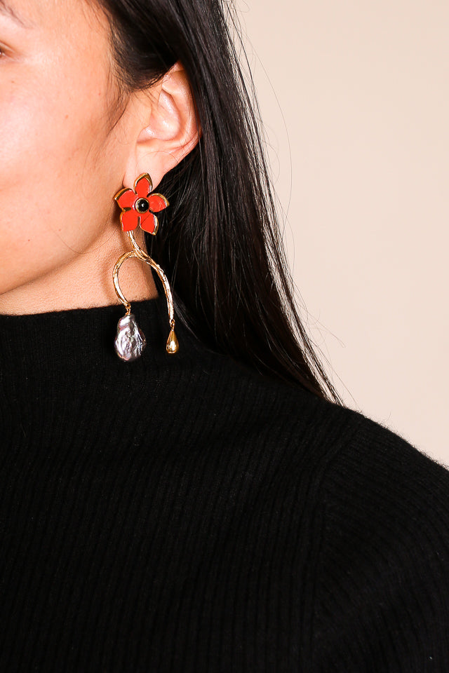 Poinsettia Vine Earrings