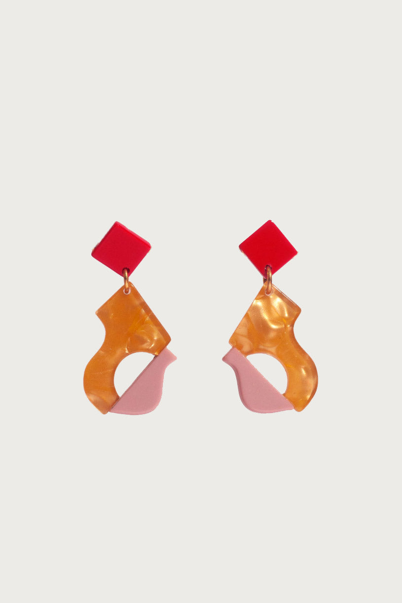 Abya Petite Dore Earrings in Orange and Pink
