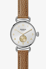 Shinola Canfield 38mm Watch in Silver/Camel Football - Vert & Vogue