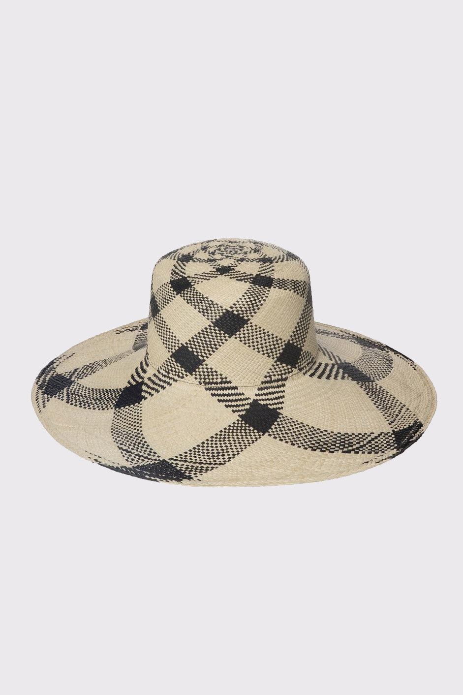 Medium Brim Flat Top Hat in Plaid Panama