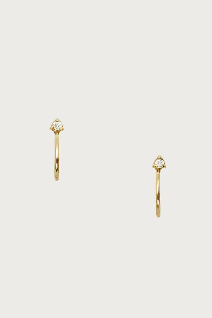 Mini Hoop Stud Diamond Earrings