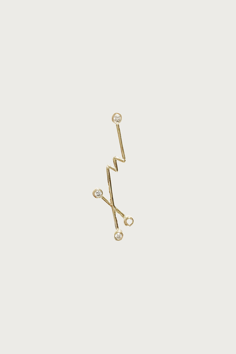 Xiao Wang Dot Dot Single Stud Earring With Three Diamonds - Vert & Vogue