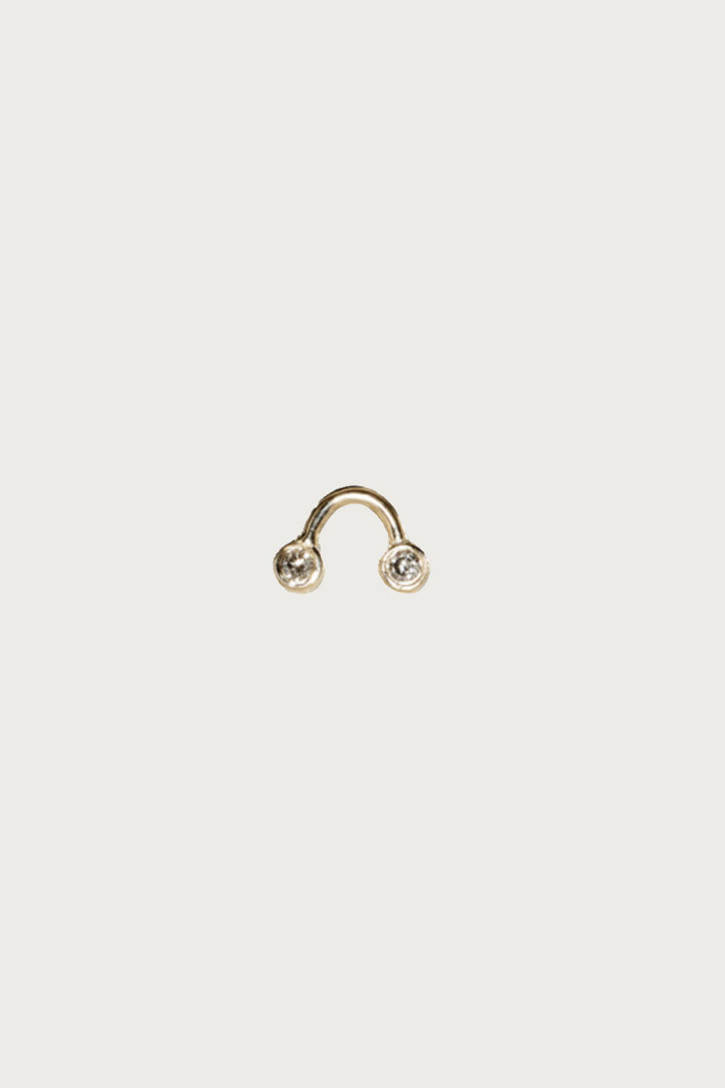 Dot Dot Single Stud Earring with 2 Gray Diamonds on Gold Arch